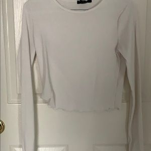 Cropped rubbed long sleeve